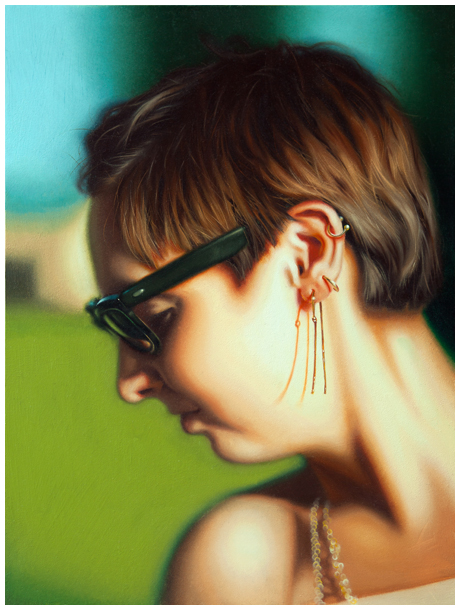 <em><strong>Becca's Earrings -  </em></strong> - oil on panel, 8in x 6in ©2015