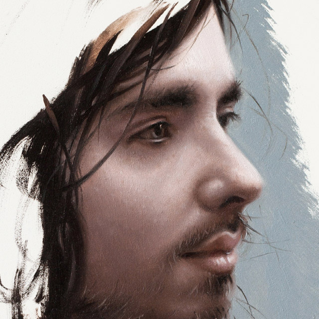 Aiden Study (detail) - oil on panel, 50mm x 50mm